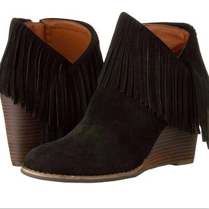 Lucky Brand Black Suede Fringe Yachin Ankle Bootie